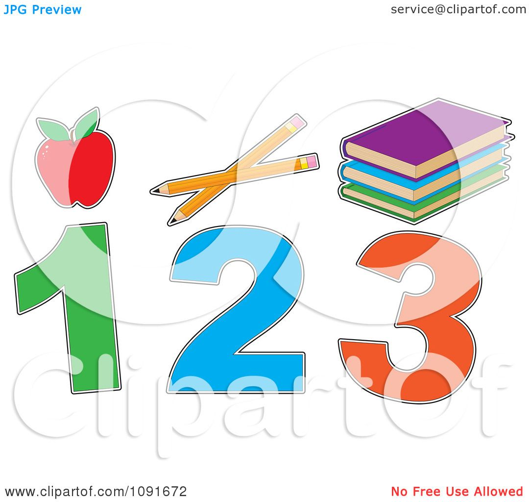 Clipart Red Apple Pencils Books And 1 2 3.