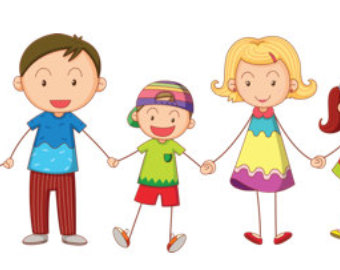 Mom and 3 brothers and 1 girl clipart.
