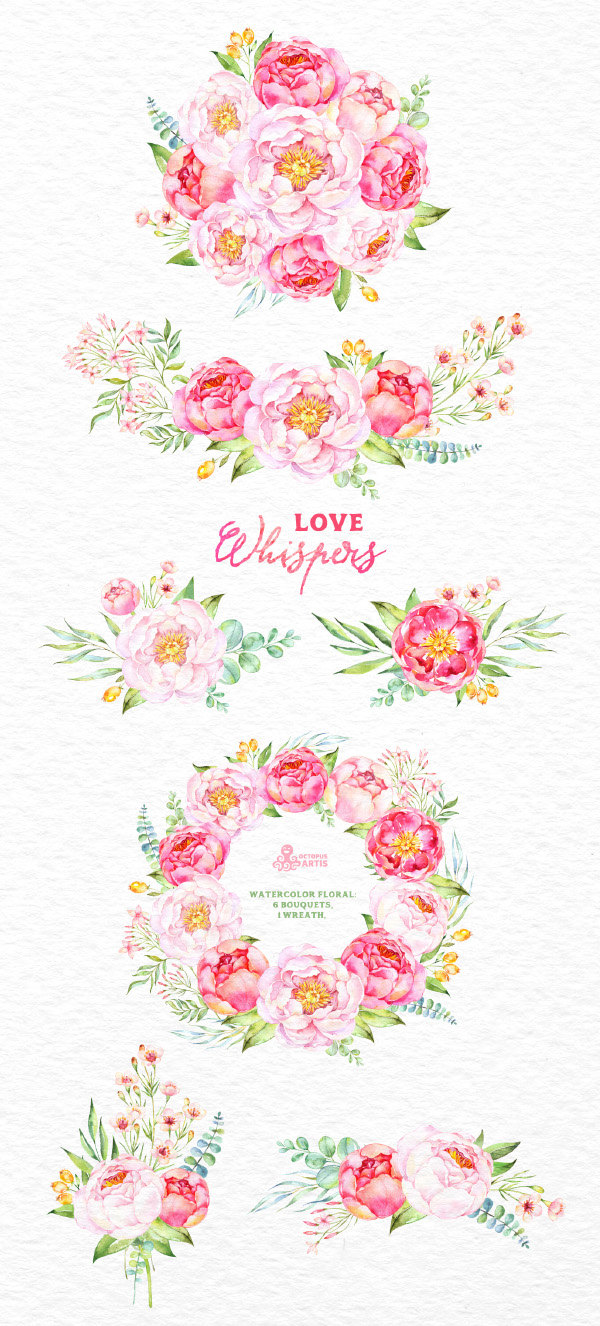 Love Whispers: 6 Watercolor Bouquets and 1 Wreath, flowers clipart.