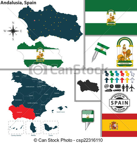 Vector Clip Art of Map of Andalusia, Spain.