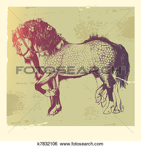 Clip Art of Andalusian horse k7832106.