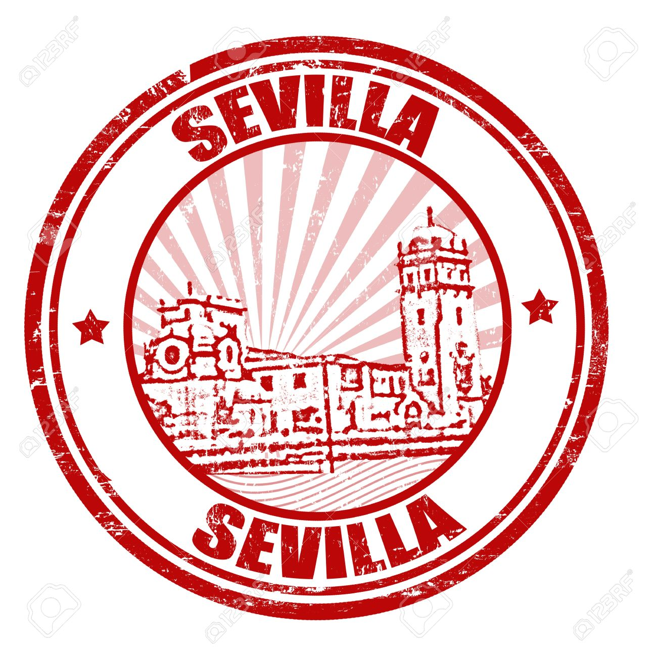 Sevilla Grunge Rubber Stamp, Illustration Royalty Free Cliparts.