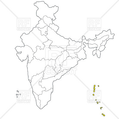 Andaman and Nicobar islands on the map of India Vector Image.