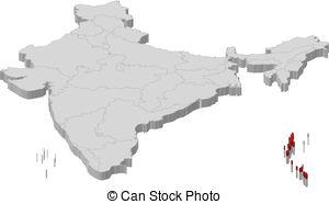 Clip Art Vector of Andaman and Nicobar island.