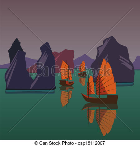 Vector Clipart of Junks floating on the Andaman Sea vector.
