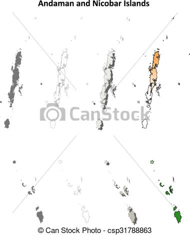 Clip Art Vector of Andaman and Nicobar Islands blank outline map.