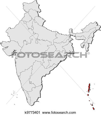 Clipart of Map of India, Andaman and Nicobar Islands highlighted.