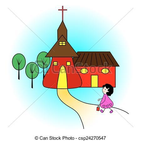ragazza, andare, chiesa.