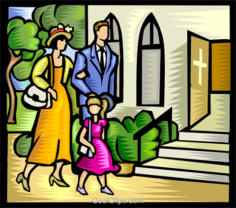 famiglia di andare in chiesa immagini grafiche vettoriali.