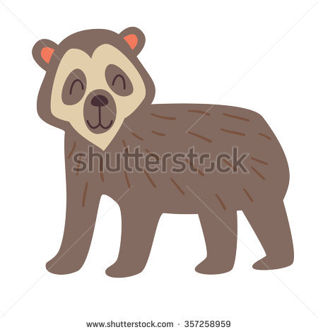 Spectacled Bear. Vector Illustration, Isolate On White Background.