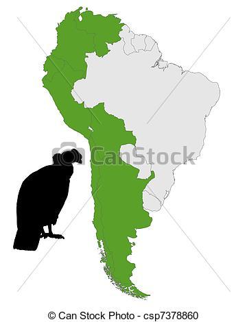 Vector Clipart of Andean Condor distribution csp7378860.