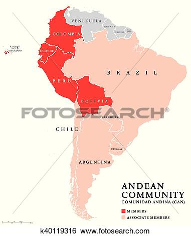 Clip Art of Andean Community countries map k40119316.