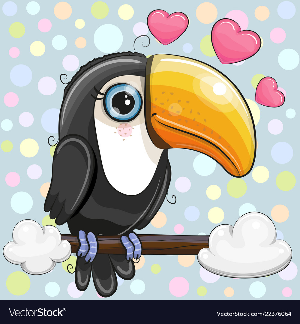 Cartoon toucan is sitting on a branch.