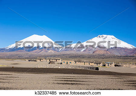 Stock Image of Parinacota and Pomerade volcanos. High Andean.