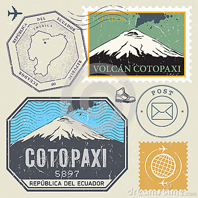 Cotopaxi Volcano Andean Landscape Stock Illustrations.