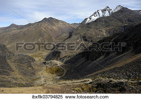 "Stock Image of ""Andean landscape, Takesi Inca pass, Minas de San."