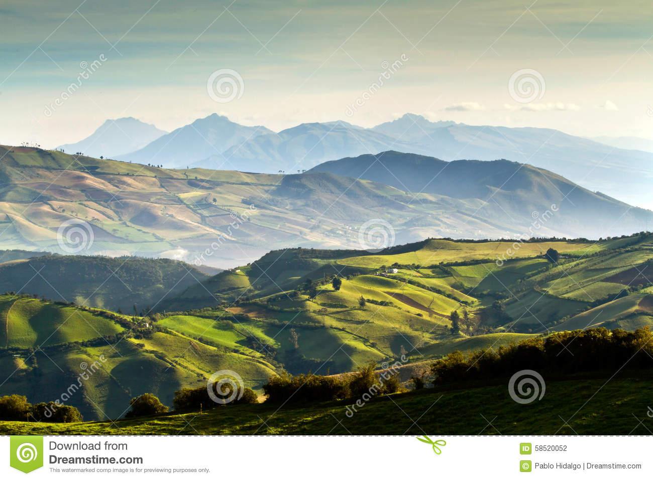 Beautiful Andean Landscape View From Nono, Ecuador Stock Photo.