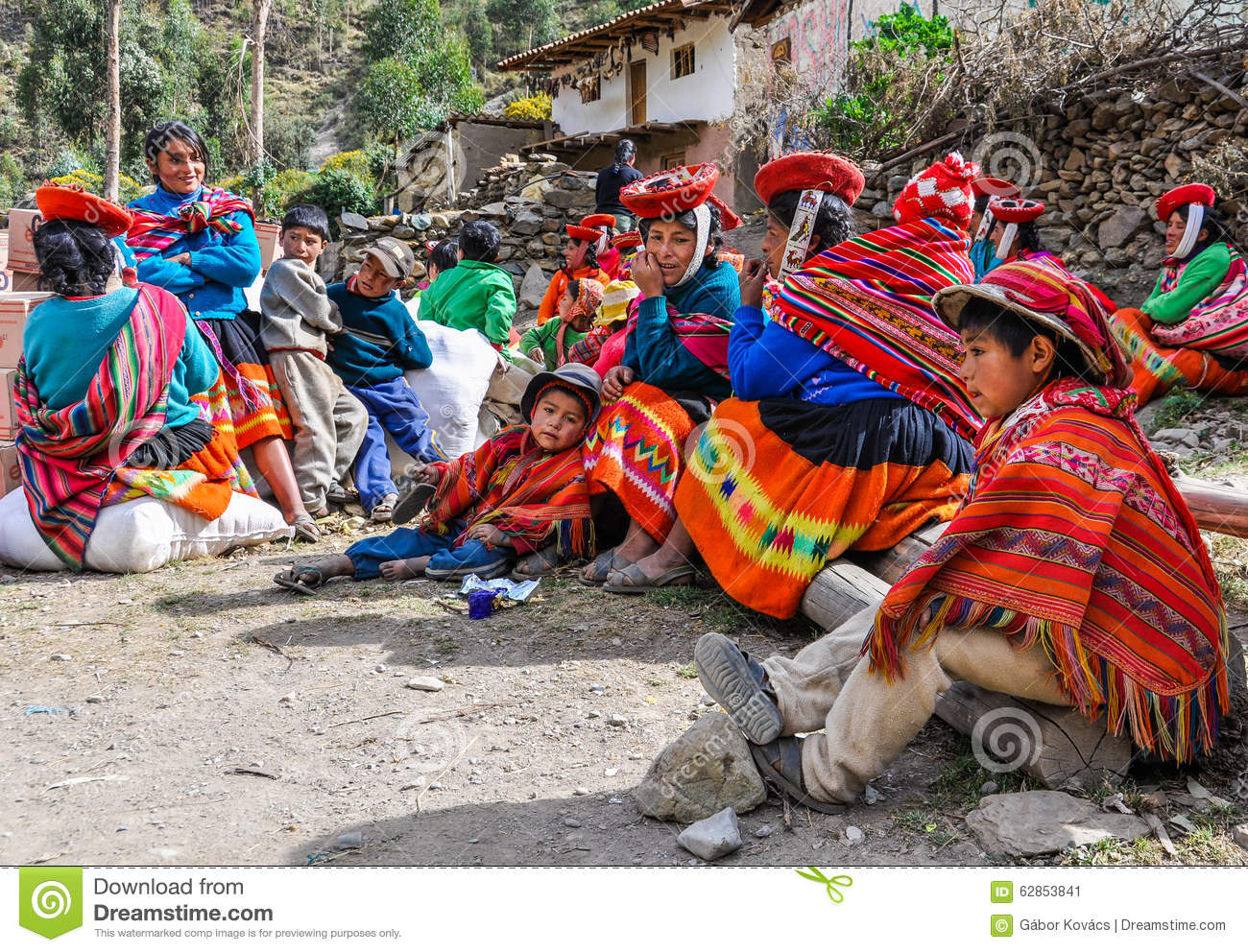 Quechua Family In A Village In The Andes, Ollantaytambo, Peru.