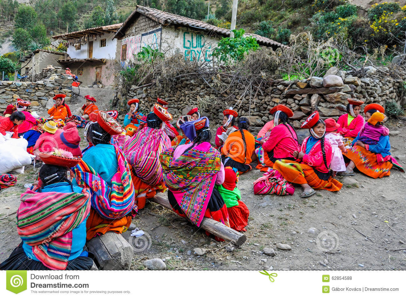 Quechua Women With Children In A Village In The Andes, Ollantayt.
