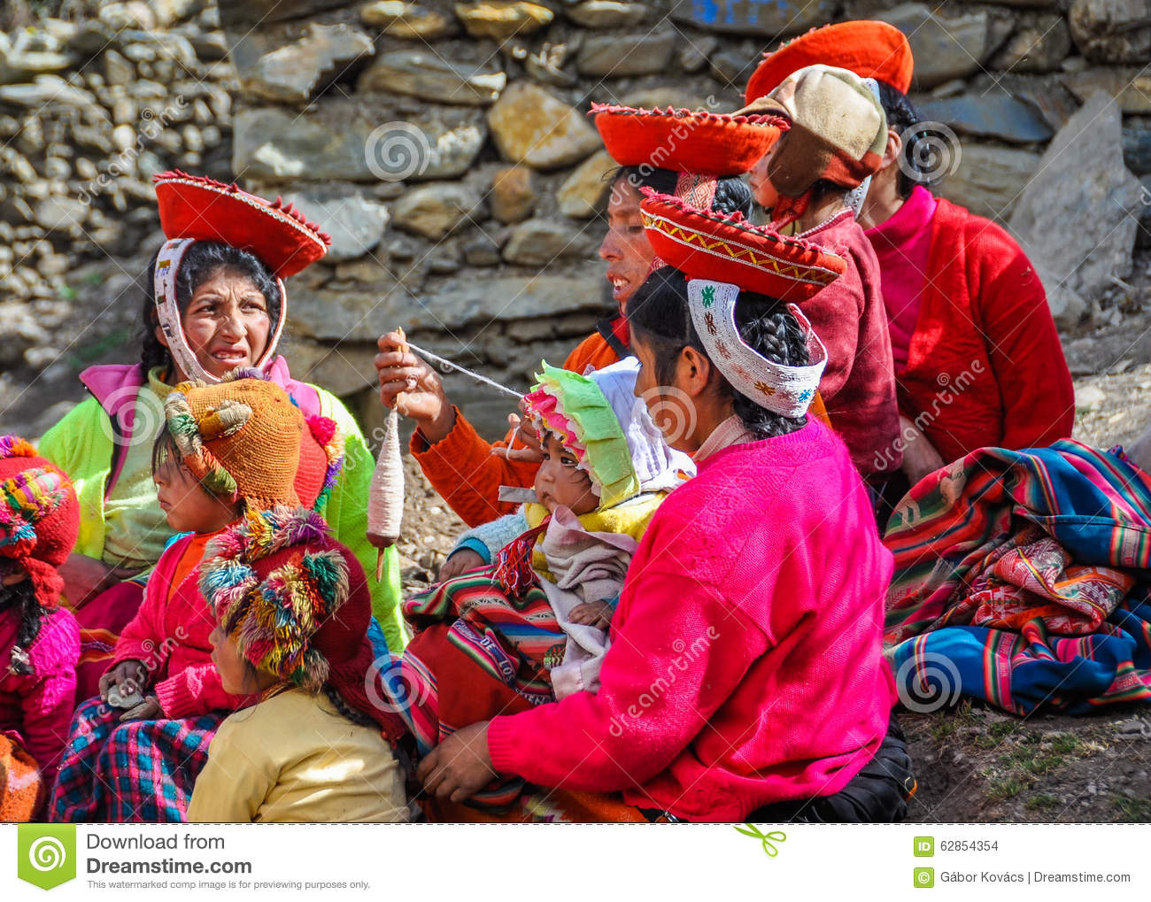 Quechua Women Working In A Village In The Andes, Ollantaytambo.