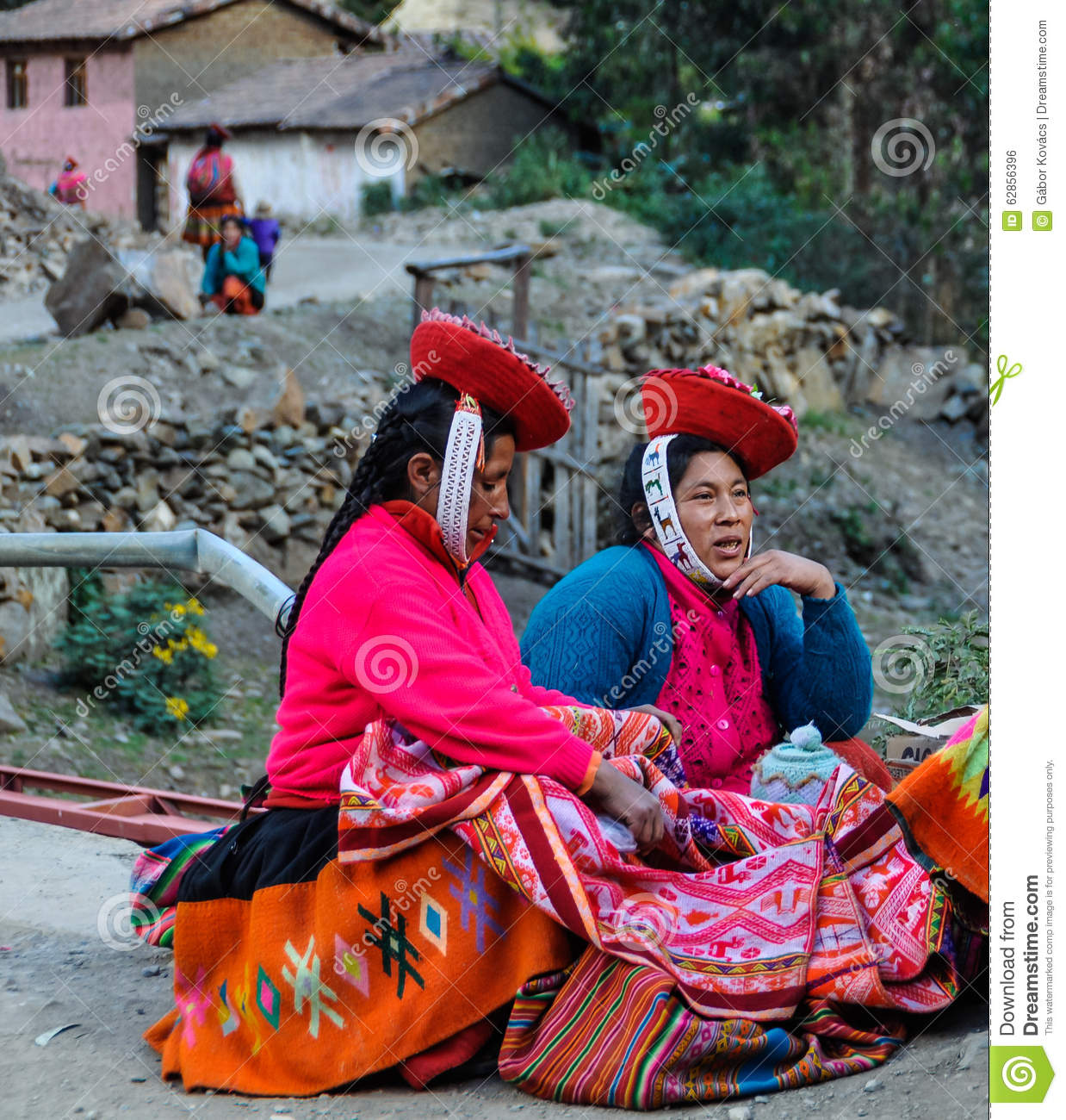 Quechua Women In Colorful Dress In A Village In The Andes, Ollan.