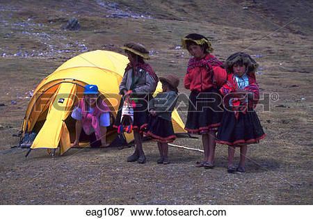 Picture of Young Quechua Indian girls in native clothing sell.