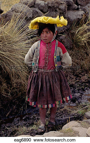 Stock Photography of Young QUECHUA girl on the high ALTIPLANO.