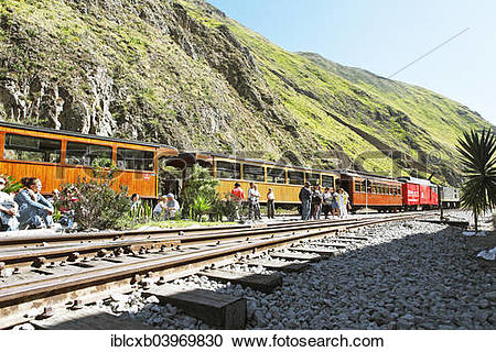 "Stock Photography of ""Sibambe station, Andean railway Nariz del."
