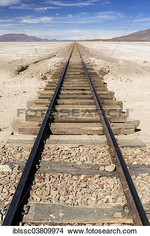 "Stock Photo of ""Railroad tracks, Altiplano, Andean Plateau, Andes."