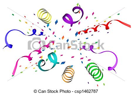 Confetti And Streamers Line Clipart.