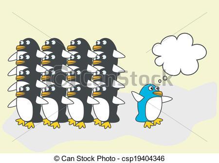 EPS Vektor von blaues, Eins, denkt, anders, Pinguin.
