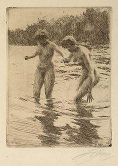 "The painting ""Une première"" was one of Anders Zorn's first."