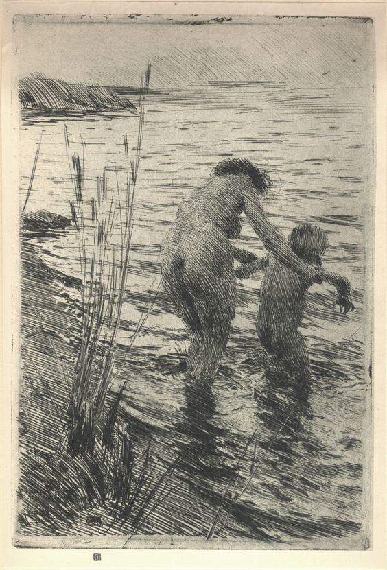 Bathers, etching by Anders Zorn..