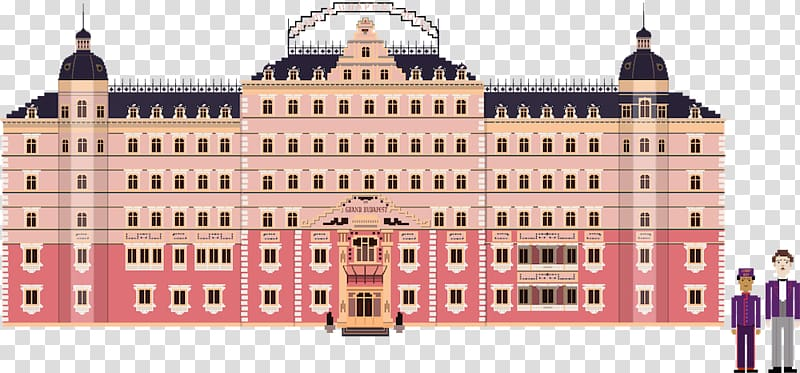 Architecture Pixel art Hotel Film, Wes Anderson transparent.