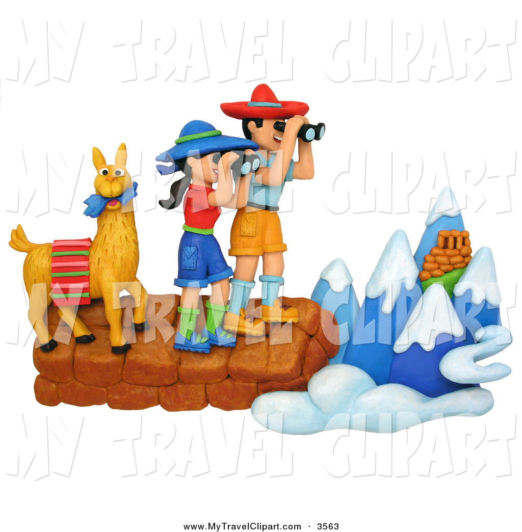 Clipart of a 3d Hiker Couple and Llama Viewing the Andes Mountains.