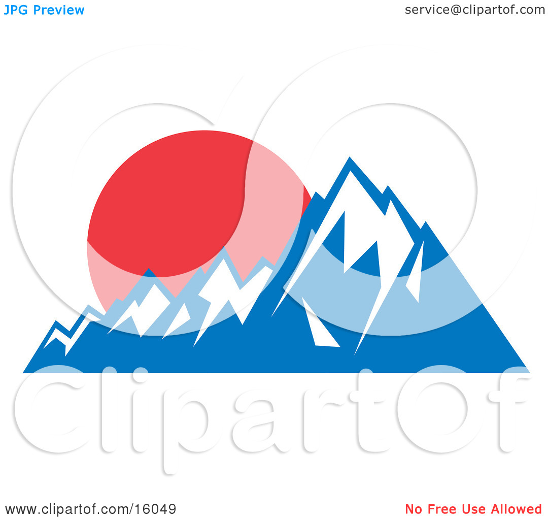 Red Sunset Over Snow Capped Mountains Clipart Illustration by Andy.