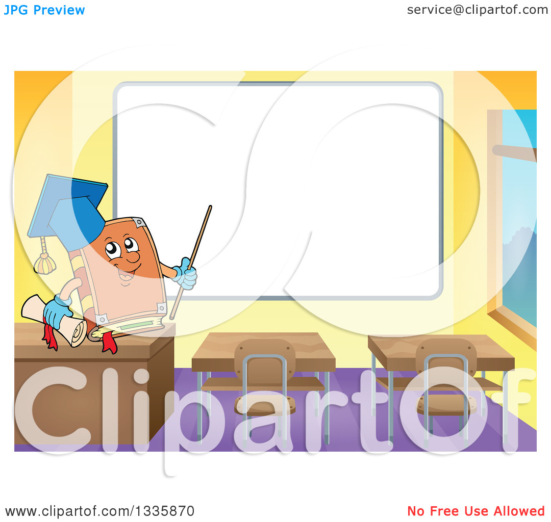 Clipart of a Cartoon Professor Book and in a Class Room, Pointing.