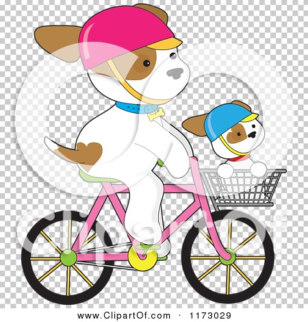 Cartoon of a Cute Dogs Riding on a Bicycle and in a Basket.
