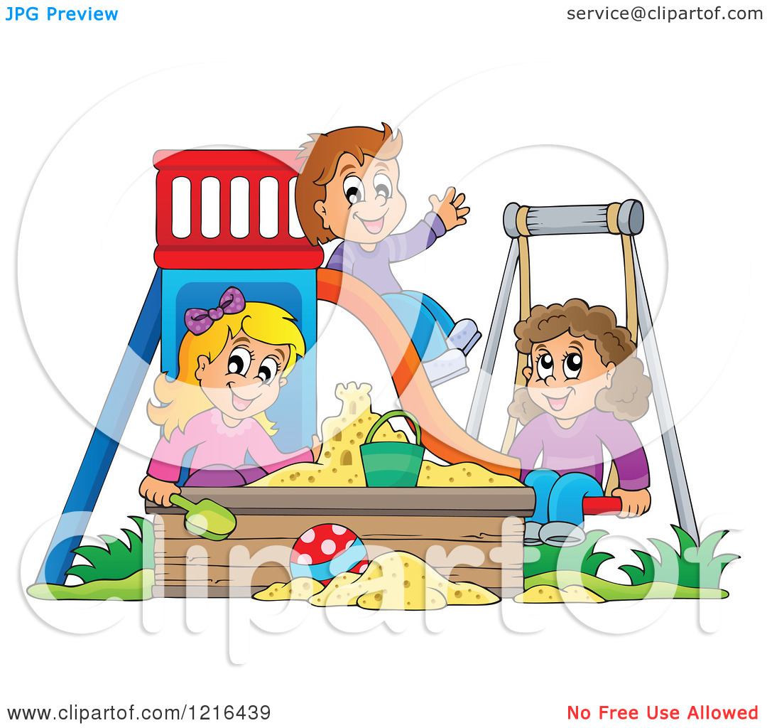 Clipart of Happy Children Playing on a Swing Slide and in a.
