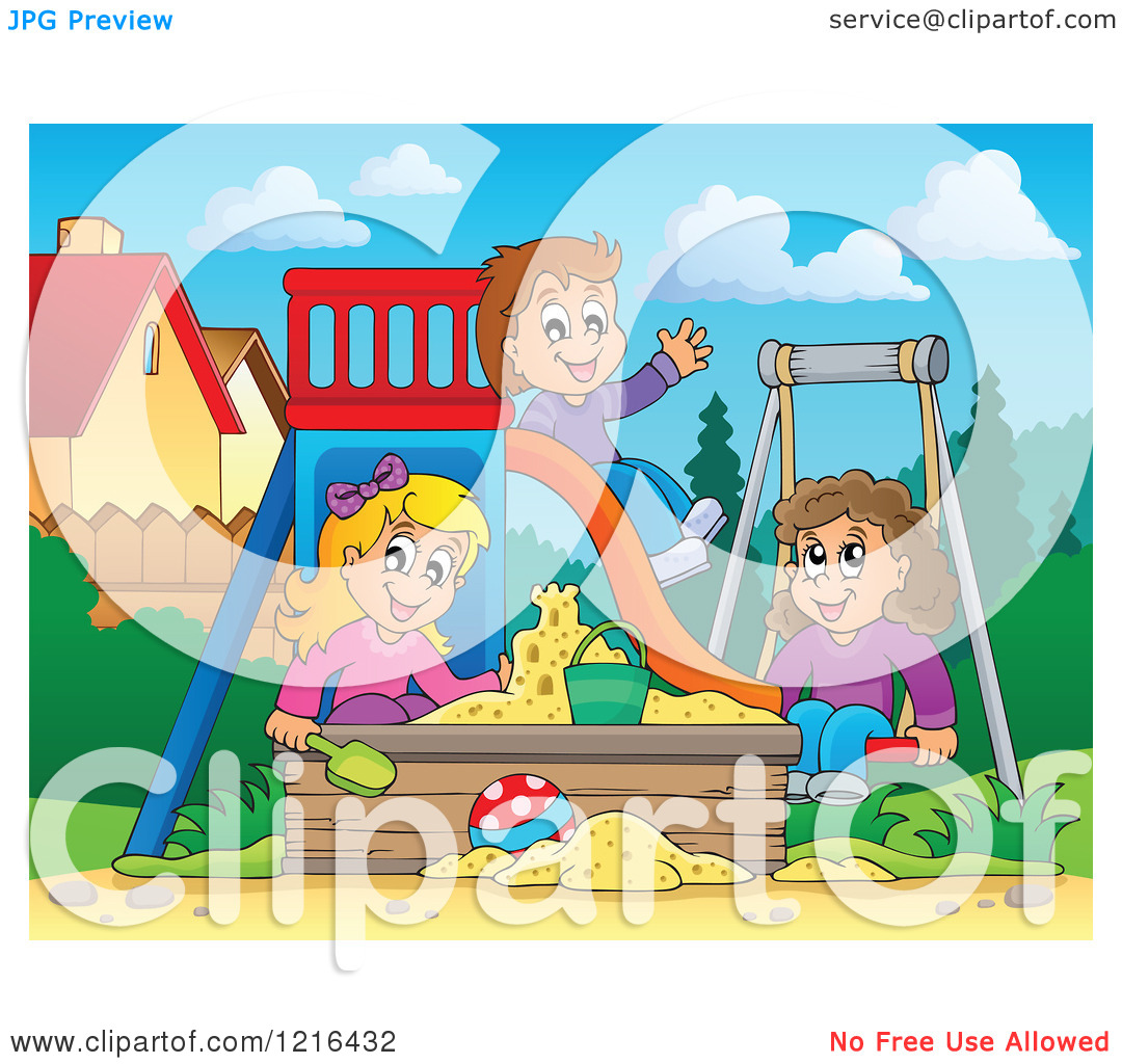 Clipart of Children Playing on a Swing Slide and in a Sandbox.