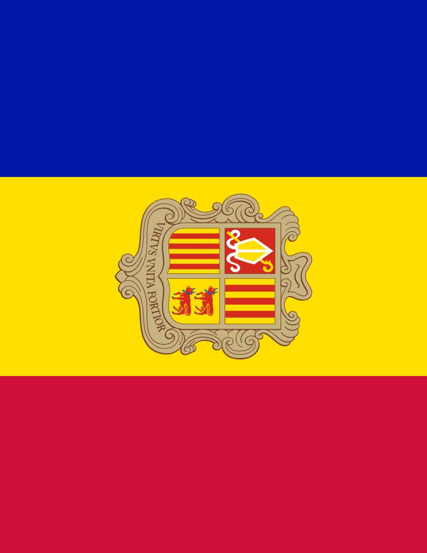 Andorra Flag Full Page Clip Art Download.