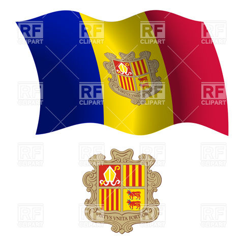 Andorra flag and coat of arms Vector Image #20831.