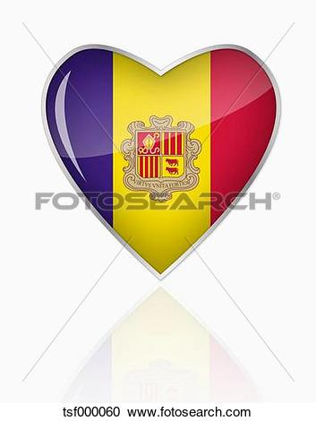 Clipart of Andorra flag in heart shape on white background.