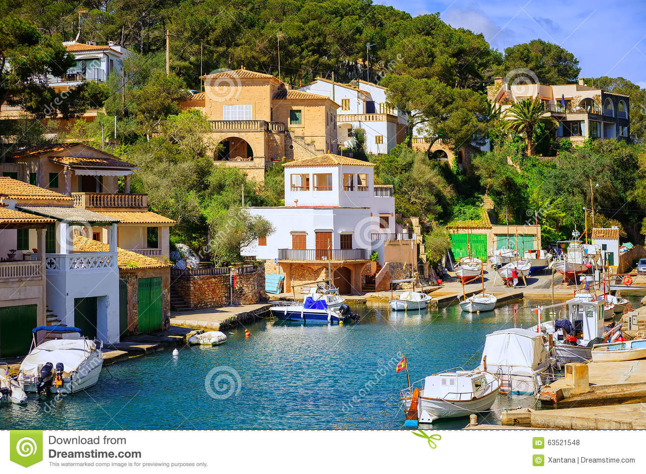 Little Fishermen Town On Mallorca Island In Mediterranean Sea, S.