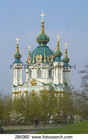 Stock Photography of Cathedral against clear blue sky, St. Andreas.