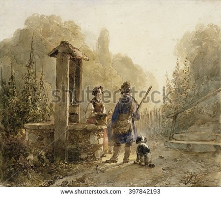 Woman Dogs Painting Stock Images, Royalty.