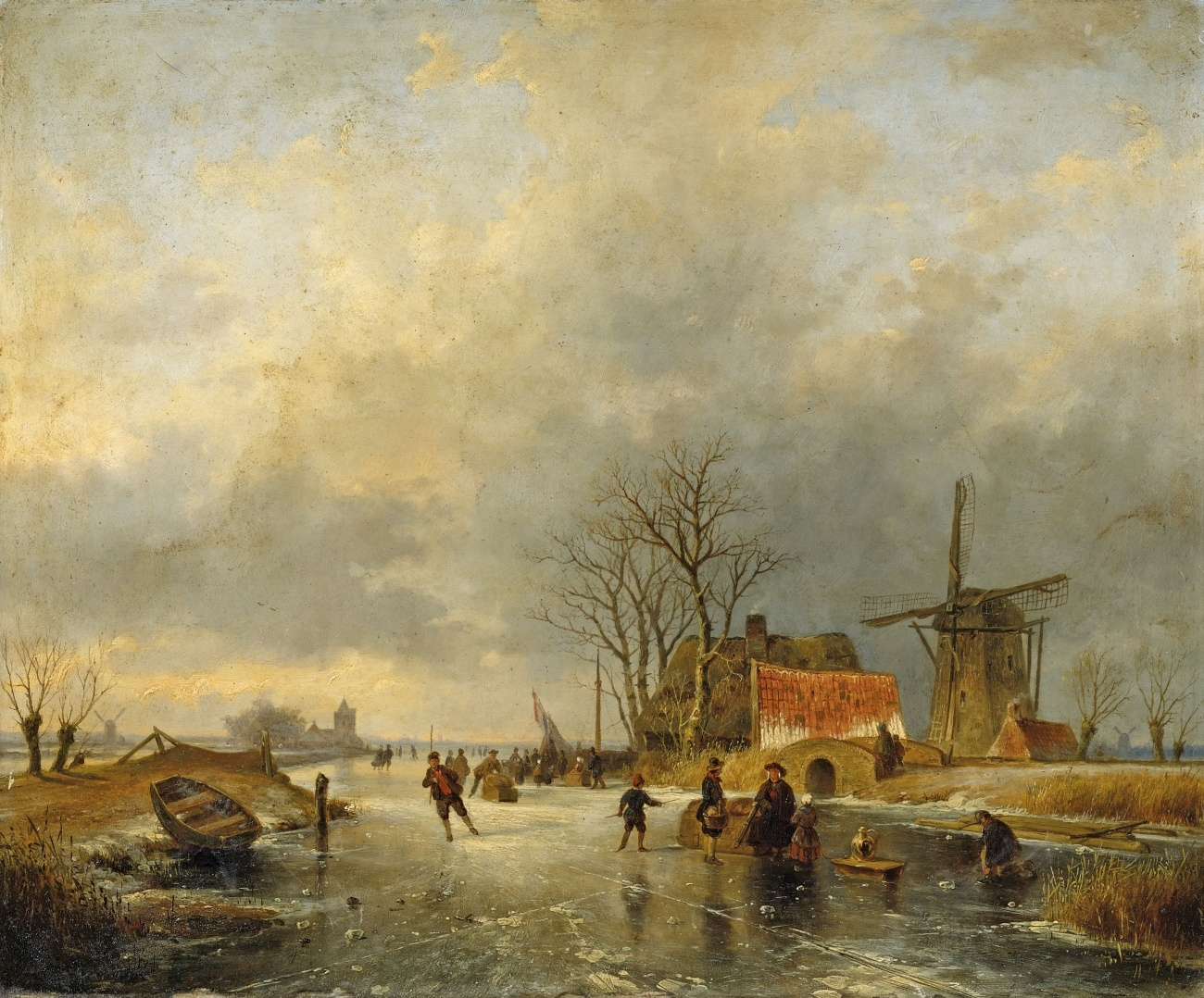 Andreas Schelfhout, WINTER LANDSCAPE WITH WIND.