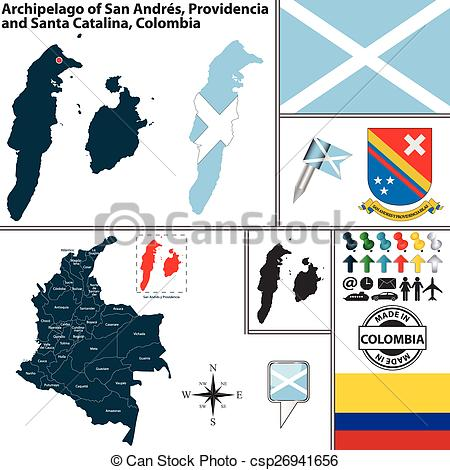 Clipart Vector of Map of San Andres and Providencia, Colombia.