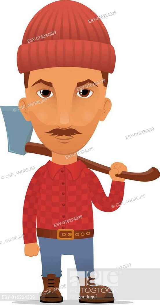 Cartoon lumberjack, Stock Vector, Vector And Low Budget.