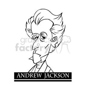 andrew jackson black white clipart. Royalty.